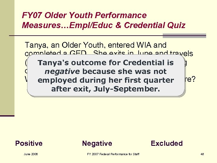FY 07 Older Youth Performance Measures…Empl/Educ & Credential Quiz Tanya, an Older Youth, entered