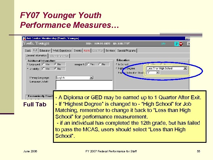 FY 07 Younger Youth Performance Measures… Full Tab June 2006 - A Diploma or