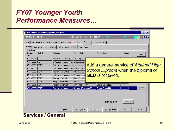 FY 07 Younger Youth Performance Measures… Add a general service of Attained High School