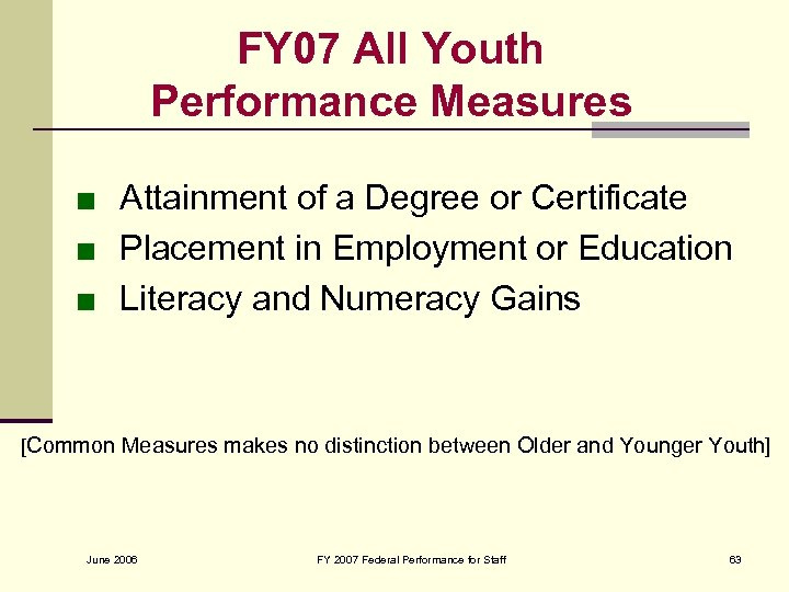 FY 07 All Youth Performance Measures ■ Attainment of a Degree or Certificate ■