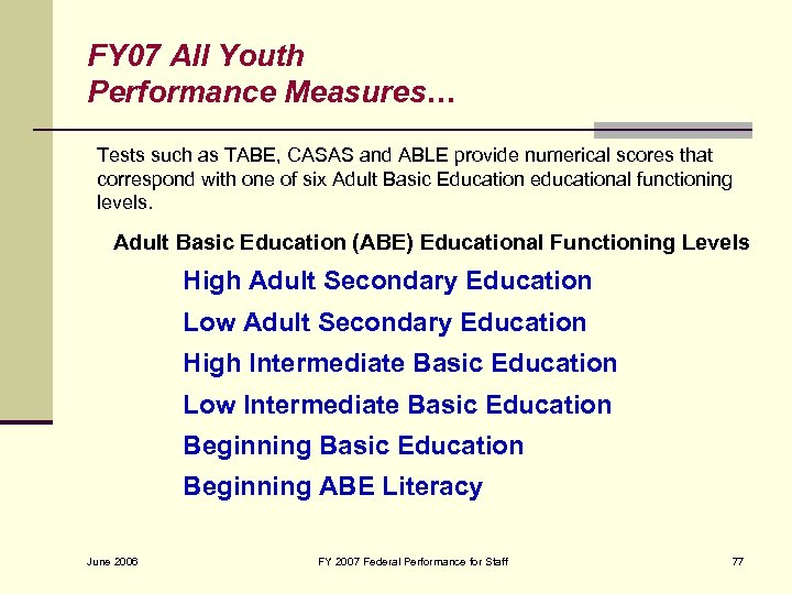 FY 07 All Youth Performance Measures… Tests such as TABE, CASAS and ABLE provide