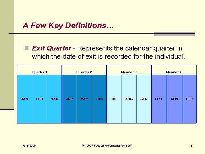 A Few Key Definitions… n Exit Quarter - Represents the calendar quarter in which
