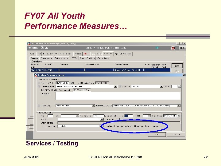 FY 07 All Youth Performance Measures… Services / Testing June 2006 FY 2007 Federal