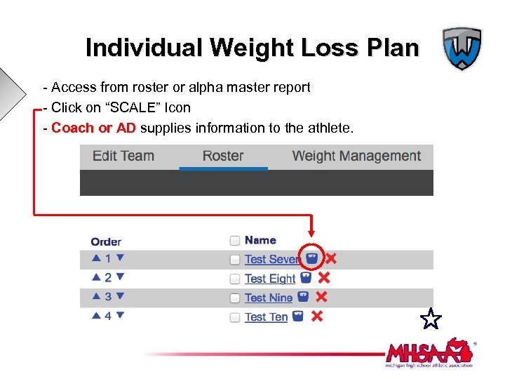 Individual Weight Loss Plan - Access from roster or alpha master report - Click