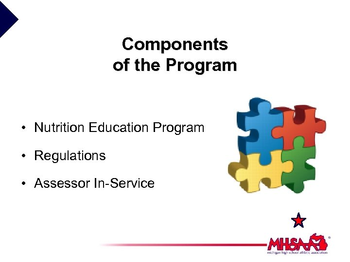 Components of the Program • Nutrition Education Program • Regulations • Assessor In-Service