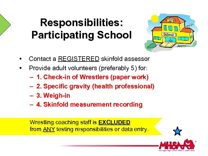 Responsibilities: Participating School • • Contact a REGISTERED skinfold assessor Provide adult volunteers (preferably