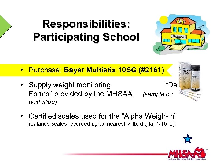 Responsibilities: Participating School • Purchase: Bayer Multistix 10 SG (#2161) • Supply weight monitoring