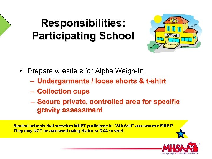 Responsibilities: Participating School • Prepare wrestlers for Alpha Weigh-In: – Undergarments / loose shorts