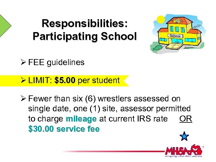 Responsibilities: Participating School Ø FEE guidelines Ø LIMIT: $5. 00 per student Ø Fewer