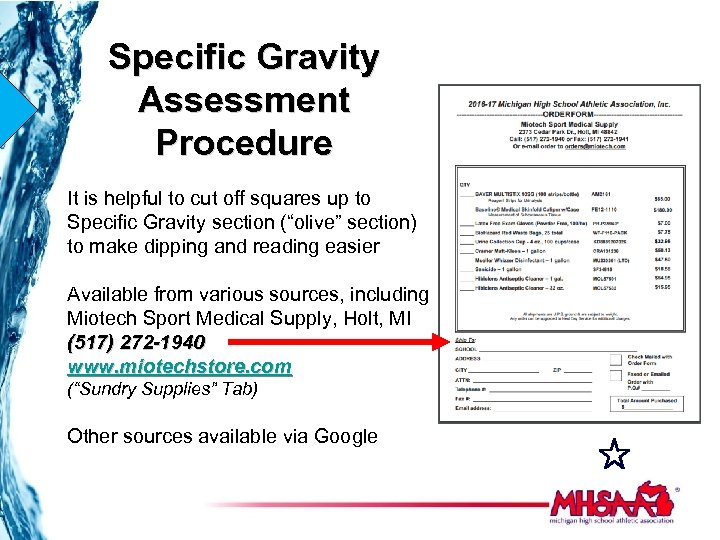 Specific Gravity Assessment Procedure It is helpful to cut off squares up to Specific