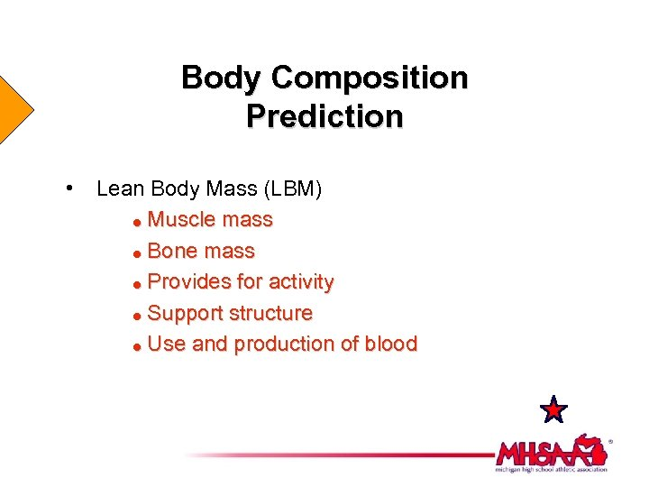 Body Composition Prediction • Lean Body Mass (LBM) = Muscle mass = Bone mass