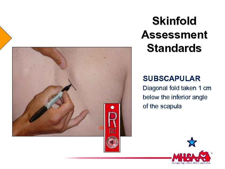 Skinfold Assessment Standards SUBSCAPULAR Diagonal fold taken 1 cm below the inferior angle of