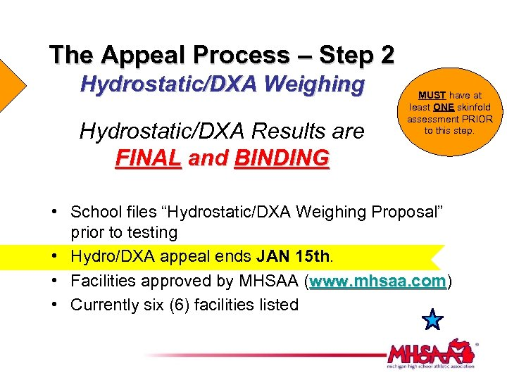 The Appeal Process – Step 2 Hydrostatic/DXA Weighing Hydrostatic/DXA Results are FINAL and BINDING