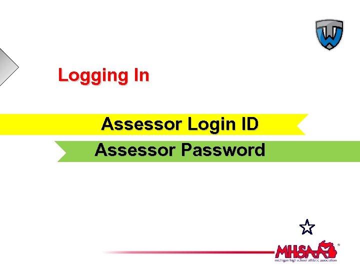 Logging In Assessor Login ID Assessor Password