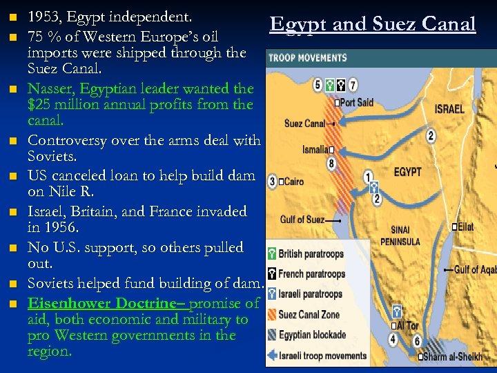 n n n n n 1953, Egypt independent. Egypt and Suez Canal 75 %