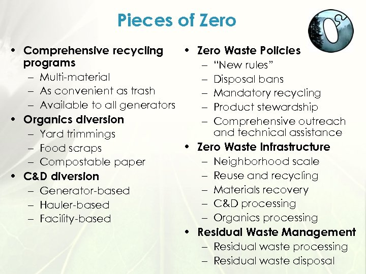 "Pieces of Zero • Comprehensive recycling • Zero Waste Policies programs – ""New rules"""
