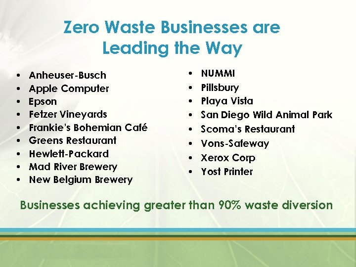 Zero Waste Businesses are Leading the Way • • • Anheuser-Busch Apple Computer Epson
