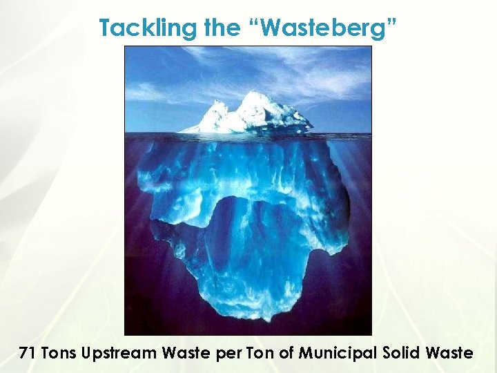 "Tackling the ""Wasteberg"" 71 Tons Upstream Waste per Ton of Municipal Solid Waste"