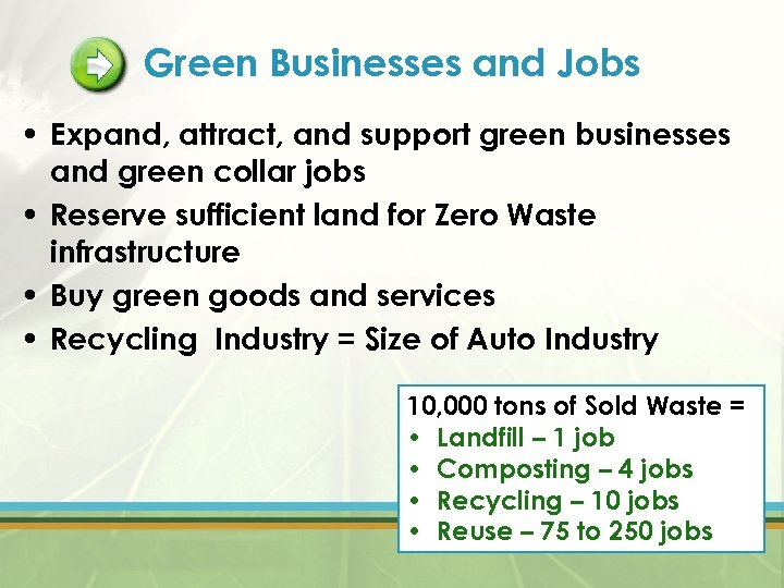 Green Businesses and Jobs • Expand, attract, and support green businesses and green collar