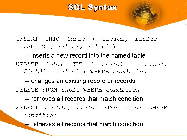 SQL Syntax INSERT INTO table ( field 1, VALUES ( value 1, value 2