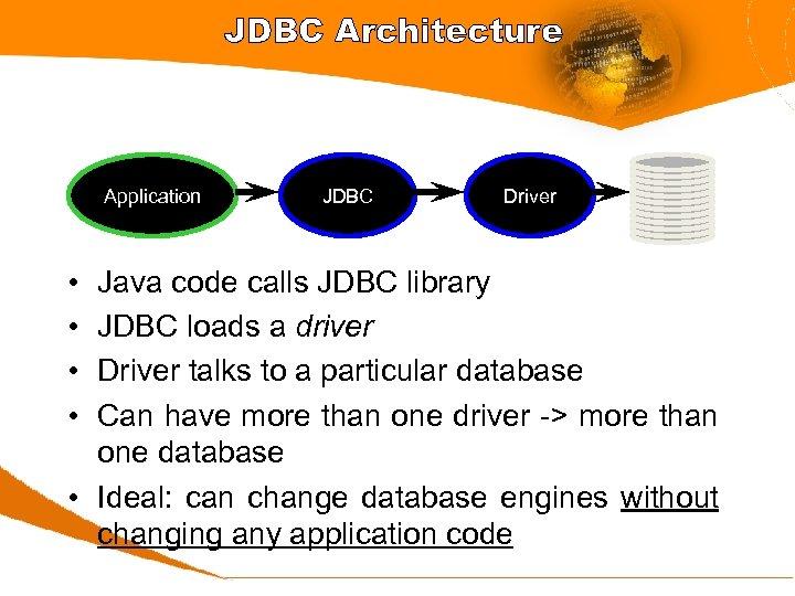 JDBC Architecture Application • • JDBC Driver Java code calls JDBC library JDBC loads