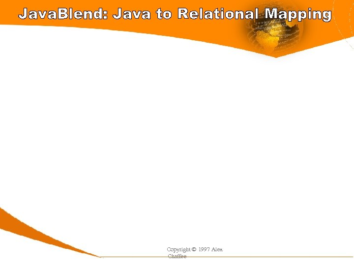 Java. Blend: Java to Relational Mapping Copyright © 1997 Alex Chaffee