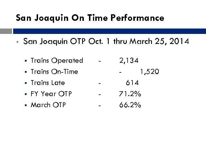 San Joaquin On Time Performance § San Joaquin OTP Oct. 1 thru March 25,