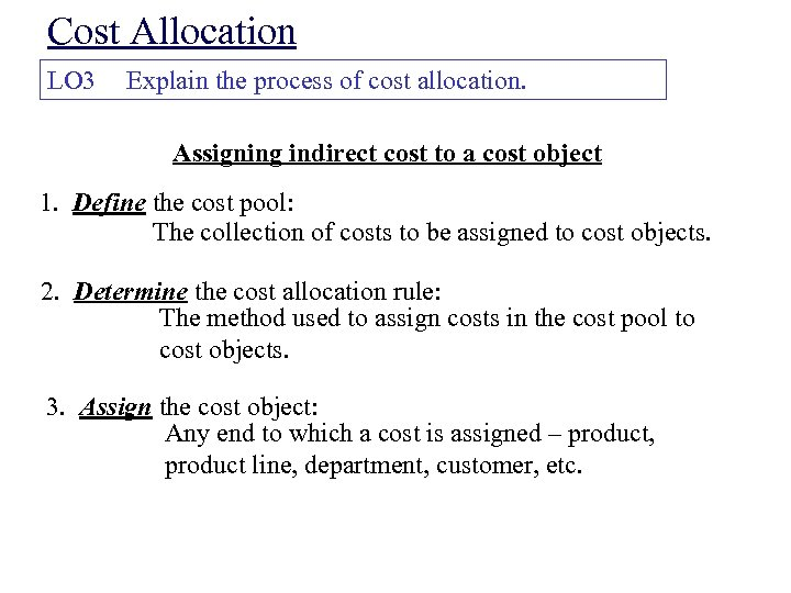 cost behavior and allocation essay Cost behavior and allocations cost behaviors and allocation health financial management cost allocation is essentially a pricing process within the organization whereby managers allocate the costs of one department to other departments (gapenski, pg 188.
