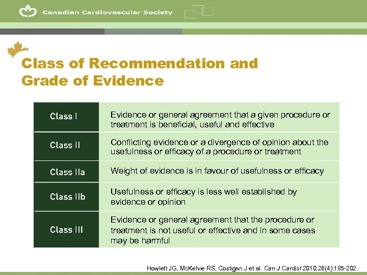 4 Class of Recommendation and Grade of Evidence or general agreement that a given
