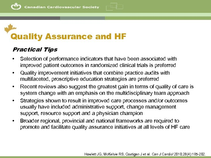 53 Quality Assurance and HF Practical Tips • • • Selection of performance indicators