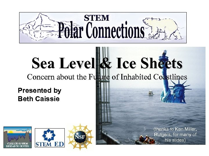 Sea Level & Ice Sheets Concern about the Future of Inhabited Coastlines Presented by