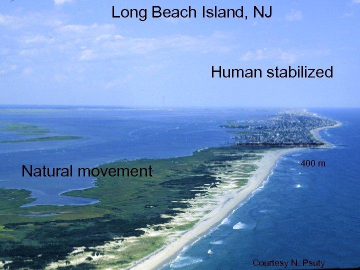 Long Beach Island, NJ Human stabilized Natural movement 400 m Courtesy N. Psuty