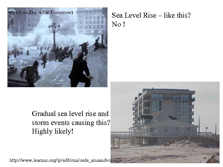 (from Day After Tomorrow) Sea Level Rise – like this? No ! Gradual sea
