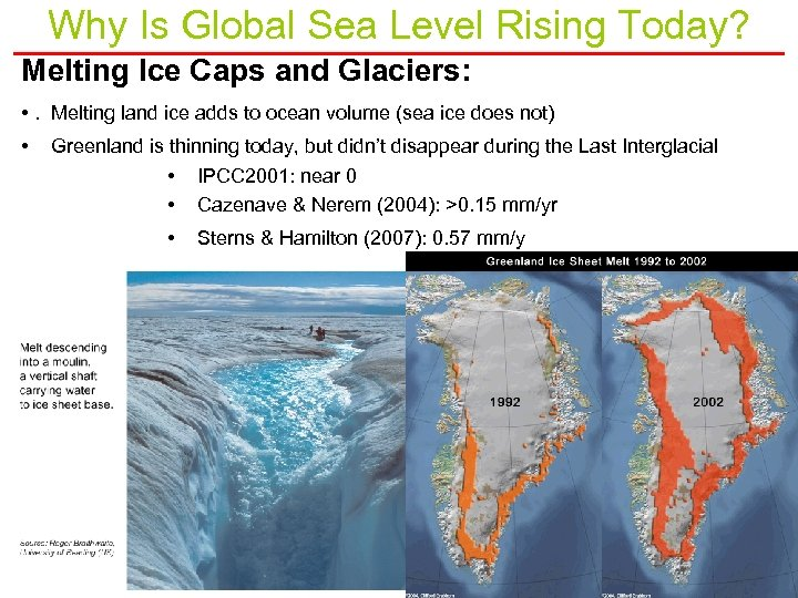 Why Is Global Sea Level Rising Today? Melting Ice Caps and Glaciers: • .
