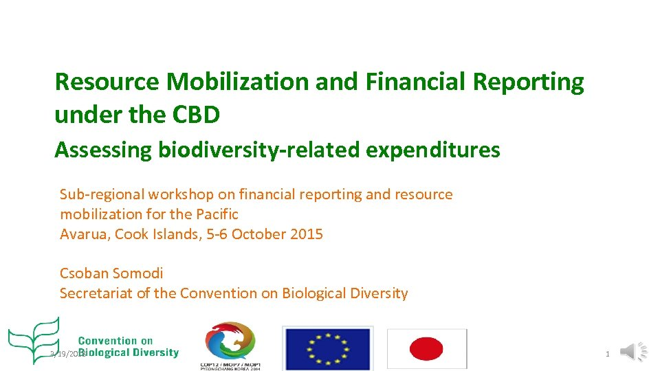 Resource Mobilization and Financial Reporting under the CBD Assessing biodiversity-related expenditures Sub-regional workshop on