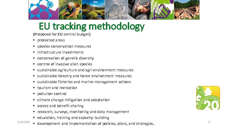 EU tracking methodology 3/19/2018 (Proposed for EU central budget) • protected areas • species