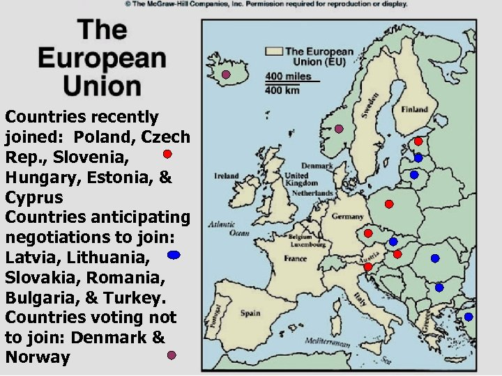 Countries recently joined: Poland, Czech Rep. , Slovenia, Hungary, Estonia, & Cyprus Countries anticipating