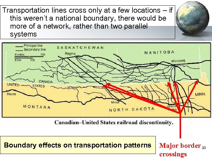 Transportation lines cross only at a few locations – if this weren't a national