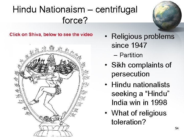 Hindu Nationaism – centrifugal force? Click on Shiva, below to see the video •