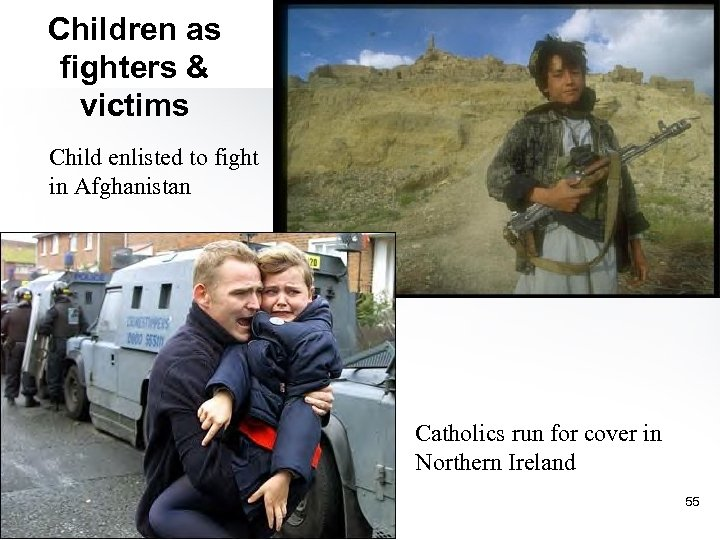 Children as fighters & victims Child enlisted to fight in Afghanistan Catholics run for