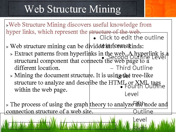 Web Structure Mining discovers useful knowledge from hyper links, which represent the structure of