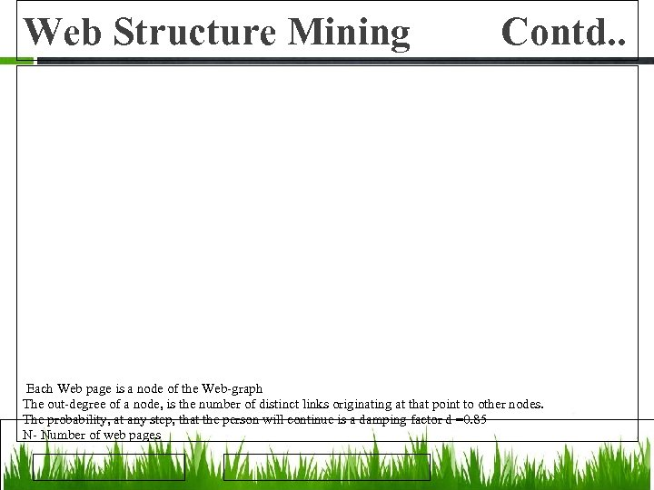 Web Structure Mining Contd. . Each Web page is a node of the Web-graph