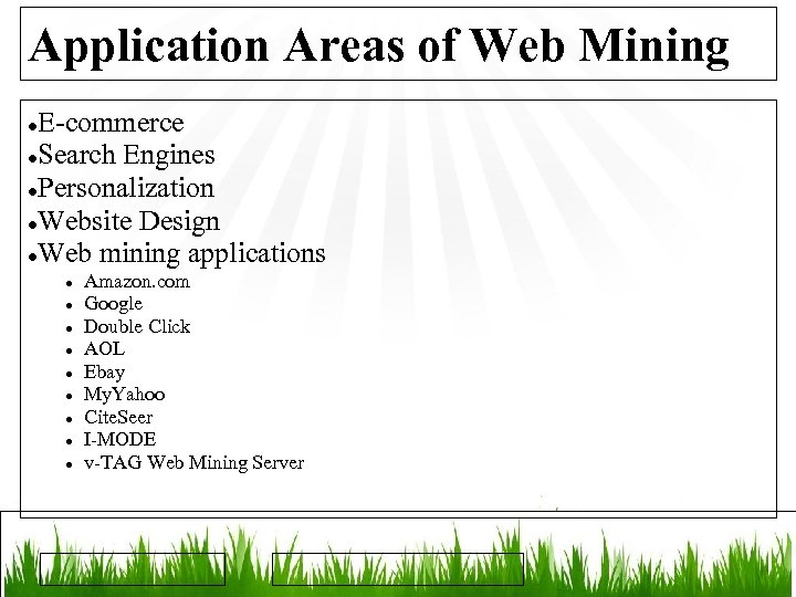 Application Areas of Web Mining E-commerce Search Engines Personalization Website Design Web mining applications
