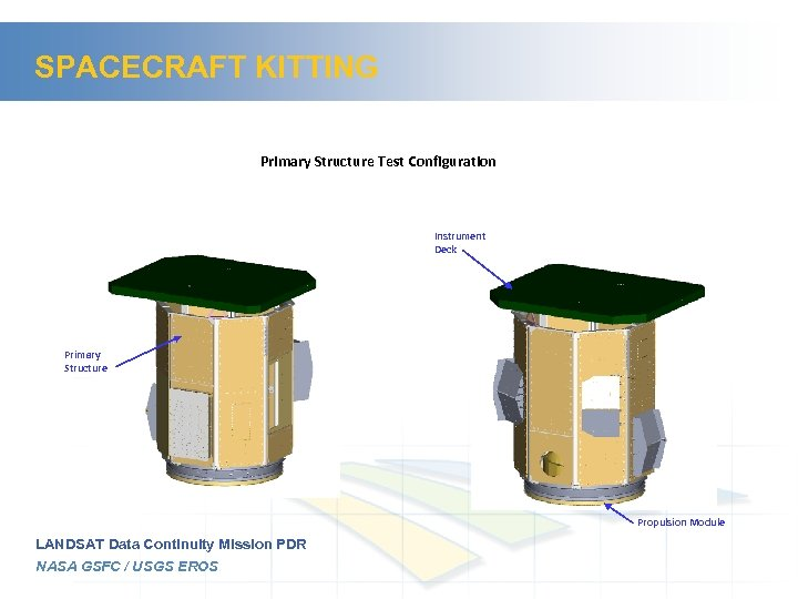 SPACECRAFT KITTING Primary Structure Test Configuration Instrument Deck Primary Structure Propulsion Module LANDSAT Data