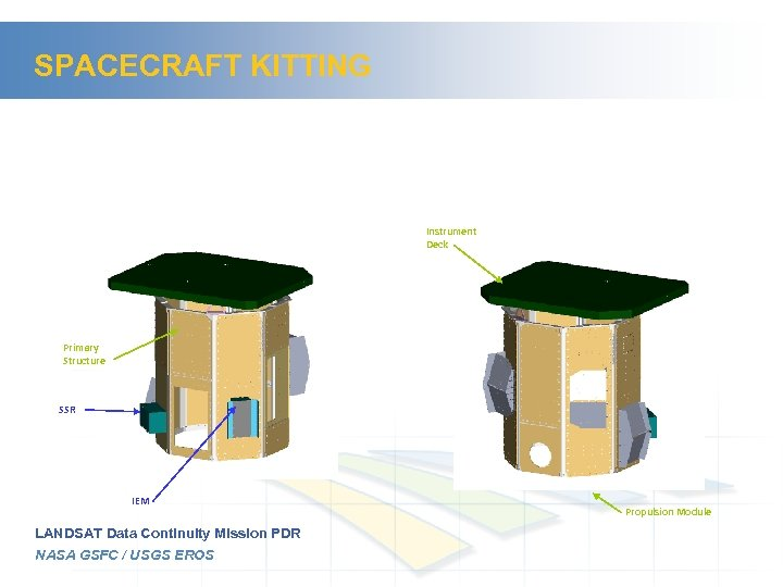 SPACECRAFT KITTING Instrument Deck Primary Structure SSR IEM LANDSAT Data Continuity Mission PDR NASA