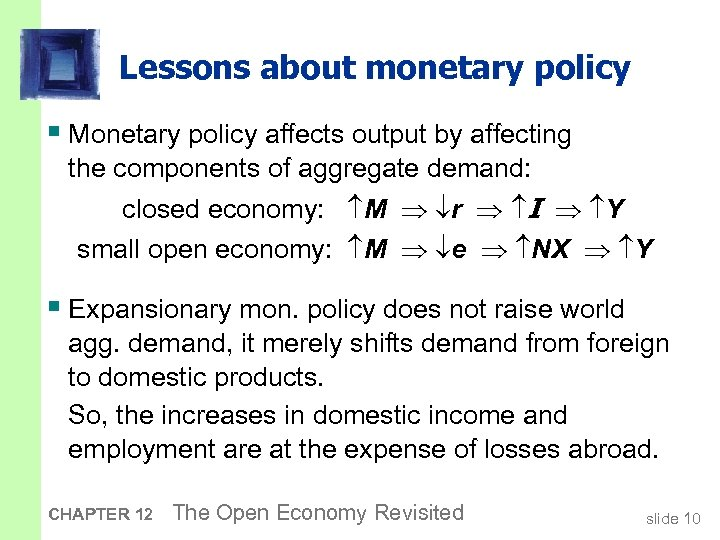 Lessons about monetary policy § Monetary policy affects output by affecting the components of