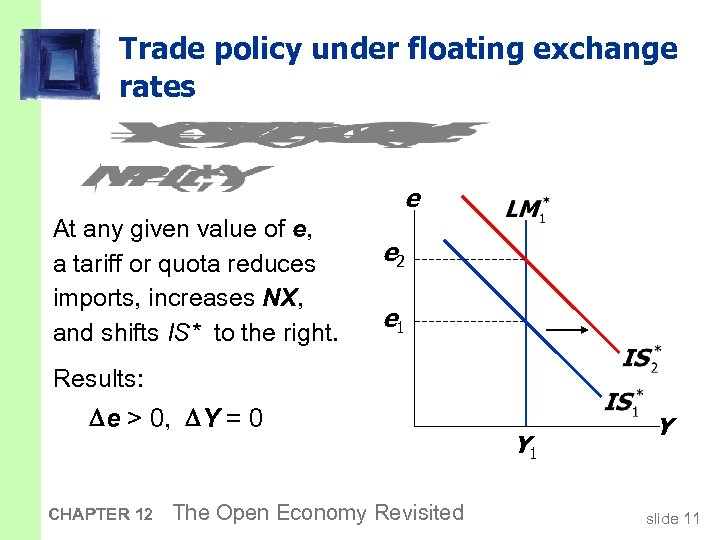 Trade policy under floating exchange rates e At any given value of e, a