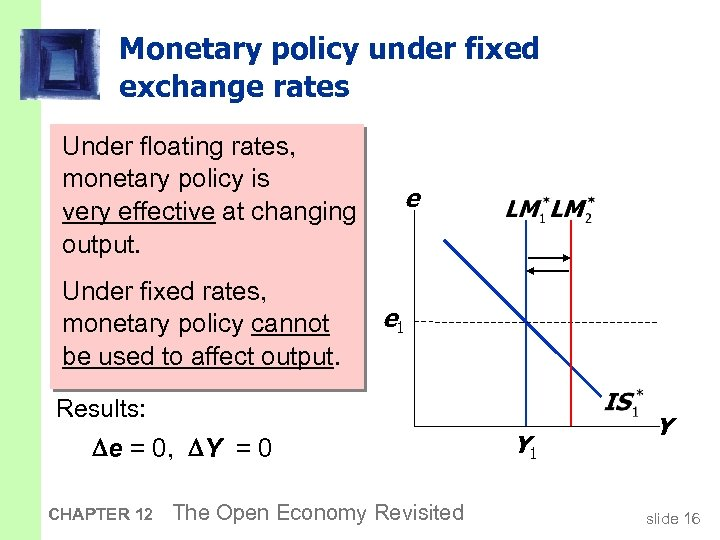 Monetary policy under fixed exchange rates An increase in M would Under floating rates,
