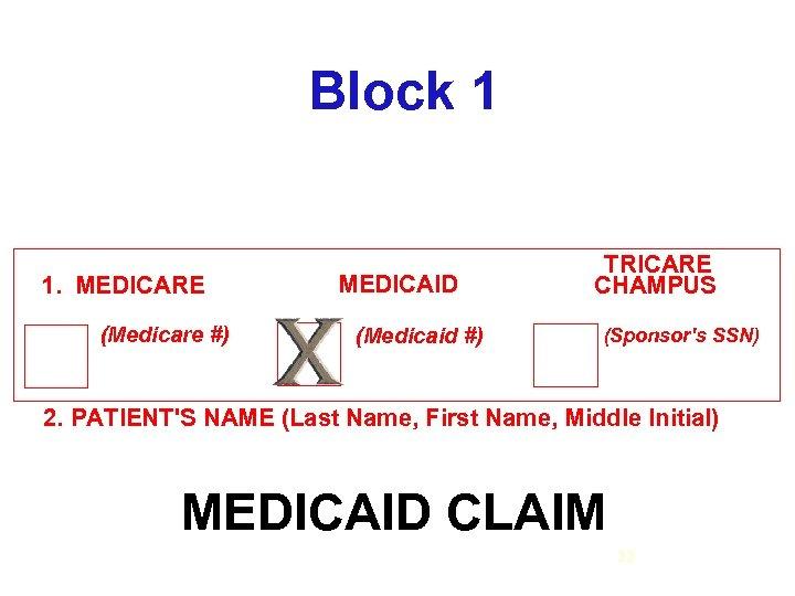 Block 1 1. MEDICARE (Medicare #) MEDICAID (Medicaid #) TRICARE CHAMPUS (Sponsor's SSN) 2.