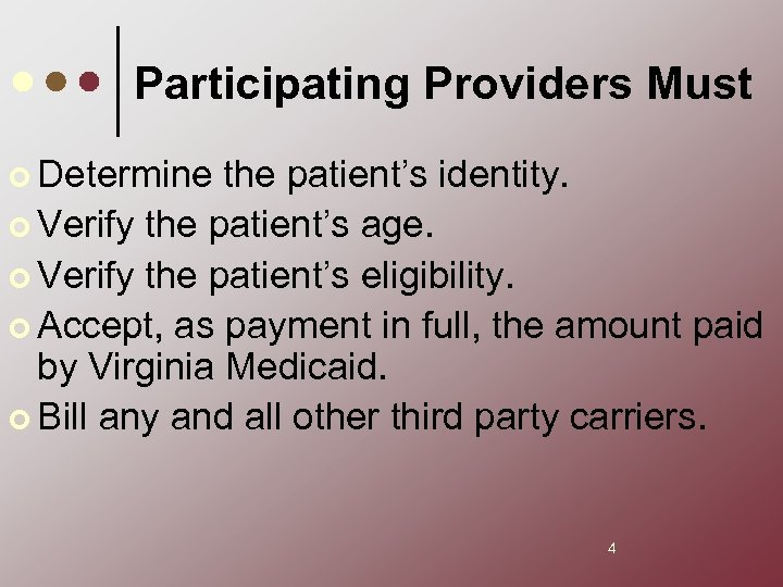 Participating Providers Must ¢ Determine the patient's identity. ¢ Verify the patient's age. ¢